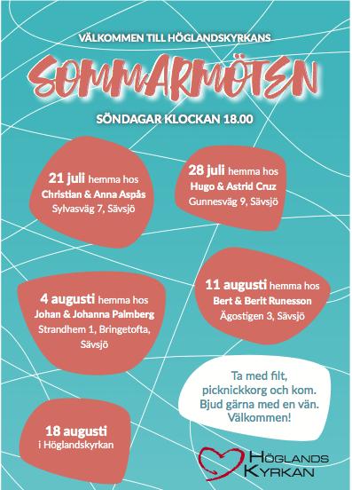 Välkomna på sommarmöten i Höglandskyrkan